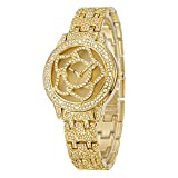 CWYPB Luxus Diamond Sun Watch Female Armbanduhr Wasserdichte Runde Uhr,Gold