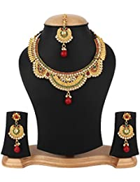 Jewels Gold Traditional Antique Golden Contemporary Latest Designer Funky Necklace With Earrings Set & Maangtika...