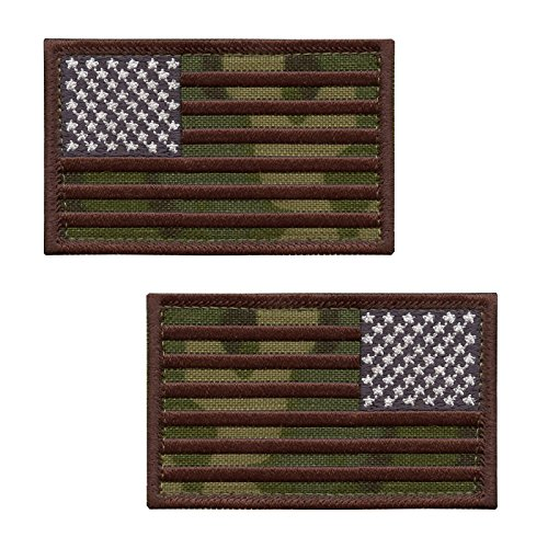 2AFTER1 Set of 2 Hook-and-Loop Patches Multicam USA American Flag ISAF Morale OD Green Army