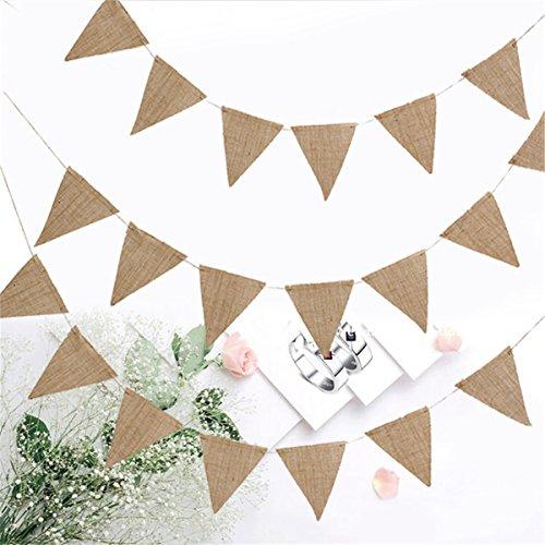 Jeteven 10m 48 Flags Wimpelkette Hochzeit Vintage Herz Jute Bunting Banner, Wimpel Hessischen Girlande Rustikal,Farbenfroh Wimpeln für Draußen Hochzeit
