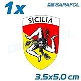 1x Sicilia Adesivo Emblema (Nr.017) Scudo Siciliano Trinacria Sticker 3,5 x 5,0 cm