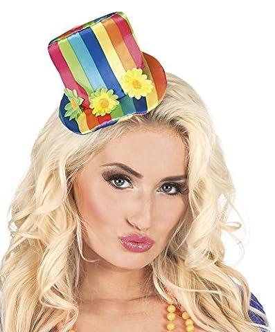 erdbeerclown - Kostüm Haarreif Tiara Candy Clown Regenbogen Hut, Mehrfarbig (Deutschen Offizier Hut Kostüm)