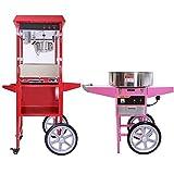 KuKoo Retro 1x Popcornmaschine Popcorn Maker mit Wagen und 1x Rosa Retro Zuckerwattemaschine mit Wagen im Set