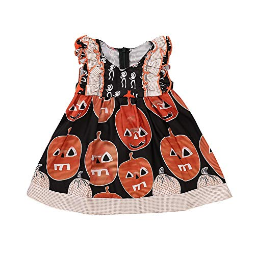 Kinder Kleinkind Neugeborenes Baby Halloween Kostüm Niedlichen Kürbis Gedruckt Tutu Kleid Halloween Night Party Kleider 3-24 Mt (Für Halloween Dress Kleinkinder Up)