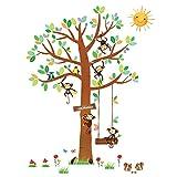 Decowall DA-1401 5 Affen Groß Baum Waldtiere Tiere Wandtattoo Wandsticker Wandaufkleber Wanddeko für Wohnzimmer Schlafzimmer Kinderzimmer