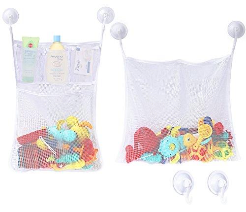 Zooawa Badezimmer Organizer - Badespielzeug Badewanne Netztasche Aufbewahrungstasche Badespielzeugsammler mit 6 Saugnäpfe (ohne Spielzeug) für Kleinkind Baby, Weiß