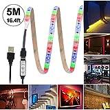 Luz de tira LED RGB 16.4ft / 5M SMD 2835 Waterproof 300LEDs Color de 5V que cambia la luz de tira flexible de LED con cable USB para televisores