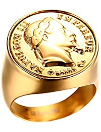 BOBIJOO Jewelry - Chevalière Bague Napoleon Pièce 20 Francs Tête Acier Plaqué Or Massive Ronde - Nouveau Modèle Améliorié