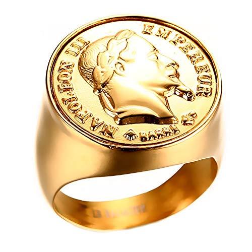 5cf3fa7287a0 BOBIJOO Jewelry - Chevalière Bague Napoleon Pièce 20 Francs Tête Laurée  Acier Plaqué Or Ronde -
