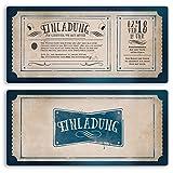 (40 x) Einladungskarten Geburtstag Vintage Retro Ticket Blau Alt Einladungen
