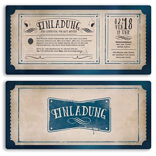 (50 x) Einladungskarten Geburtstag Vintage Retro Ticket Blau Alt Einladungen