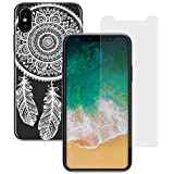 yayago 2in1 Set, Panzerglas 0 26 MM Displayschutzfolie für Apple iPhone X Glasfolie Hartglas 9H + yayago Schutzhülle für Apple iPhone X Hülle Spring Ornament Motiv Tattoo Design Transparent