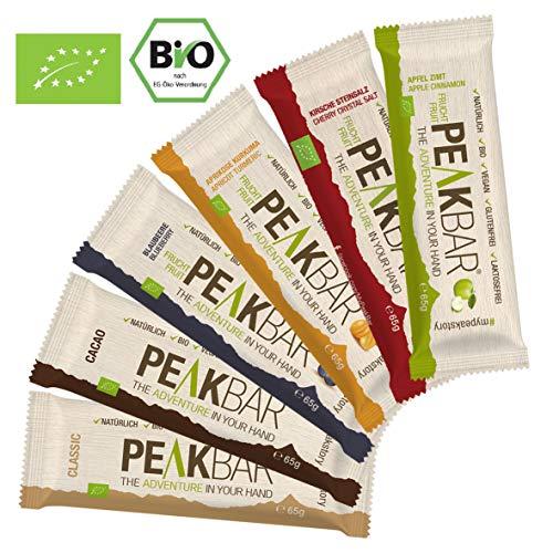 Peakbar /\ Bio Sportriegel mit Kauerlebnis | Mix Set 6x65g | Müsliriegel Radsport Wandern | Glutenfrei | Vegan