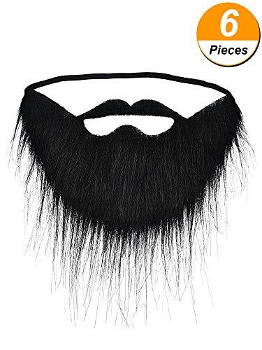 Hestya 6 pezzi divertente baffi finti barba nera barba finta baffi di viso capelli per festa forniture maschile puntelli