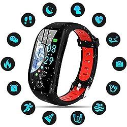 Tipmant Montre Connectée Femmes Homme Enfant IP68 Etanche Bracelet Connecté Écran Coloré Smartwatch avec Cardio Podometre Sommeil Réveil Notifications pour iPhone Huawei Samsung Xiaomi Sony (Rouge)