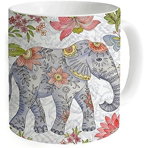 """okoukiu Fiore Elefante Mug–Tazza da tè personalizzato regalo per compleanno, Natale e nuovo year-3.7""""X 3.1"""", 11oz"""