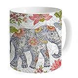 """okoukiu flores elefante taza taza de café taza de té–regalo para cumpleaños, Navidad y nuevo year-3.7""""x 3.1"""", 11oz"""