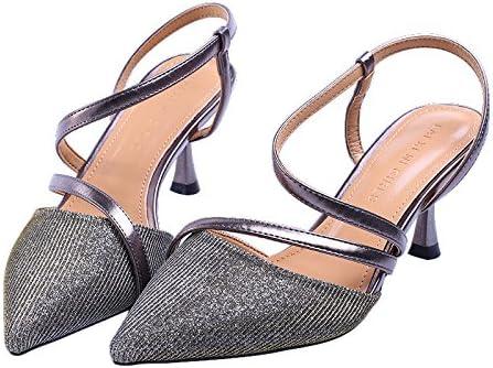 GTVERNH-Zapatos De Moda Salones Sexy S Belt Temperamento Zapatos De Mujer De 7Cm Lado Vacío Palabra De Correa...