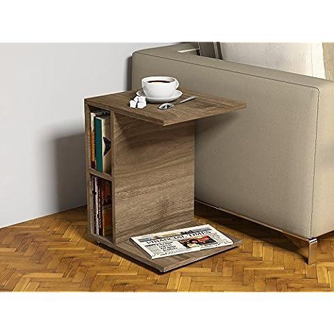CEYLIN Mesa auxiliares de salón - Nogal - Mesa de centro - Mesa de café con ruedas en diseño moderno con