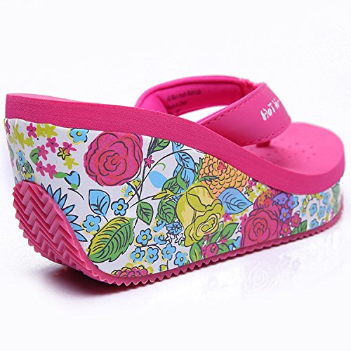 Oasap Women's Floral Wedge Heels Flip Flops Beach Sandals Fuchsia