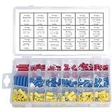 200 x umfangreiches lötfreie Presskabelschuh Kabelschuh-Sortiment in rot blau gelb Flachstecker, Stoßverbinder, Ringstecker, Gabelstecker und Hülsen