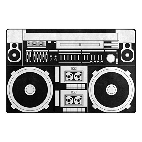 Bennigiry Retro Audio Cassette Music Rango Alfombra Antideslizante Diario de DF920felpudos para salón Dormitorio 78,7x 50,8cm, poliéster, 31 x 20 Inch