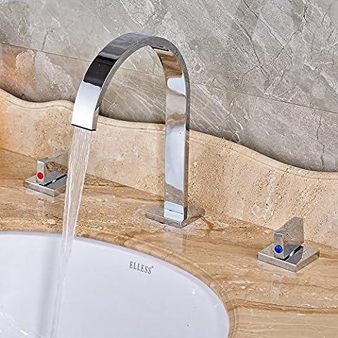 InChant Zwei Griffe Bad-Mischer-Hahn-weit verbreiteter Wasserfall Waschbecken Wasserhahn hohen Bogen Badewanne Toilette Vanity-Hahn-Chrom-Finish Einzigartige Designer Rohre, Amaturen Roman Waschtischarmaturen Glacier Bay-Hähne