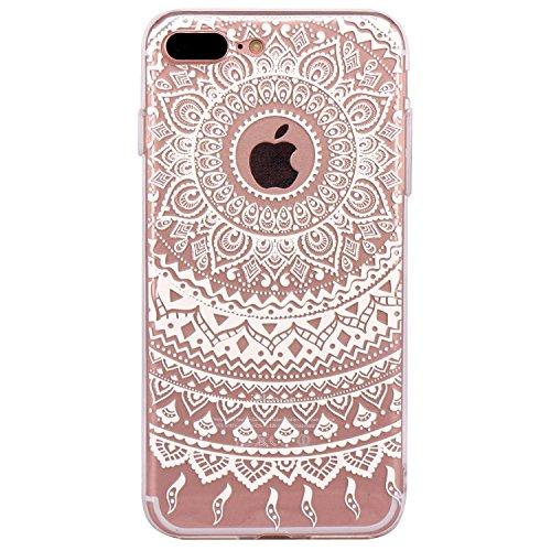 Qissy® Schutzhülle für iPhone 7 plus Hülle Case TPU Schutzhülle Crystal Case Hülle Schlank Transparent Weicher Gel Silikon Handy Hülle Bunt Telefon Kasten Abdeckung Case Farbige Fenstergitter (19) 3