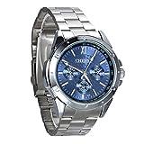 Montre Homme Avaner Montre Bracelet Quartz Cadran Pivotant - Afficahge Analogique --Bracelet en Acier inoxydable Montre Bleu
