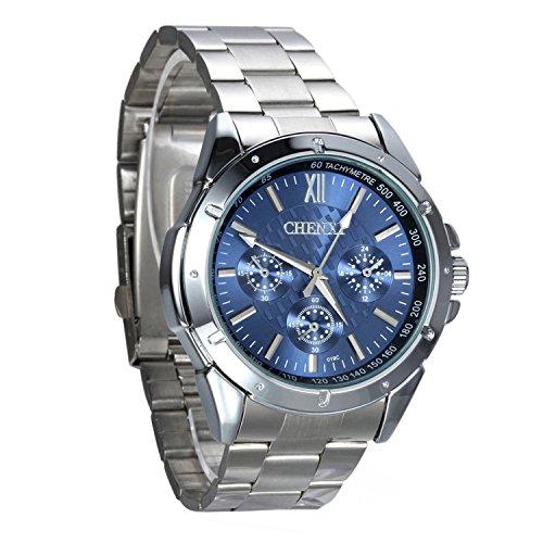 Montre Homme Avaner Montre Bracelet Quartz Cadran Pivotant - Afficahge Analogique -Bracelet en Acier Inoxydable Montre Bleu