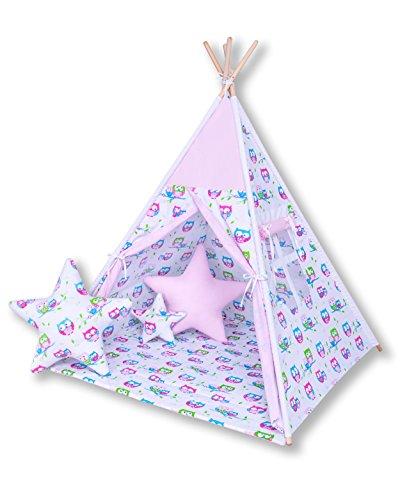 Preisvergleich Produktbild Amilian® Tipi Spielzelt Zelt für Kinder T22 (Spielzelt mit Tipidecke/mit 3 x Sternkissen)