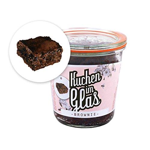 Original KUCHEN IM GLAS - kleiner Browniekuchen - BROWNIE - 140g - vegan/laktosefrei - leckeres Geschenk - süße Grüße