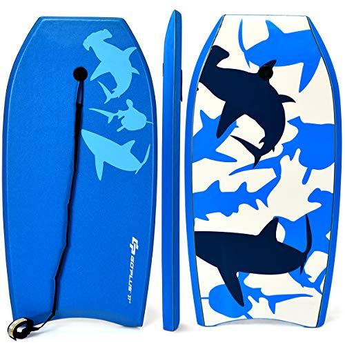 COSTWAY Bodyboard, Schwimmbrett Schwimmboard, Surfbrett Kinder, Surfboard, Sup-Board 104x52x6cm (blau)