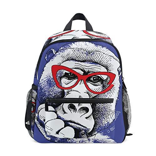 Rucksack mit lustigem AFFE mit Sonnenbrille, Segeltuch, große Kapazität, lässiger Reise-Tagesrucksack für Kinder, Mädchen, Jungen, Kinder, Studenten, 3-8 Jahre