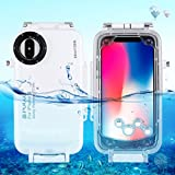 Haweel iPhone custodia subacquea, Mixneer professionale [40 m/39,6 m] snorkeling nuoto photo video impermeabile protettiva custodia subacquea per con cordino, iphone X, White