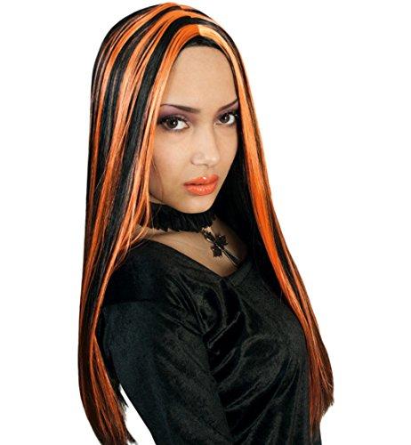 Perücke Vamp Hexe schwarz/orange SE HALLOWEEN Haarlänge: ca. 55 cm Horror Perücke Hexe Zombie Dracula Erwachsene Unisex Fasching Karneval