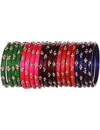 5 Color Glossy Handmade Designer Glass Bangle Set Studded With Golden Zircon For Women & Girls