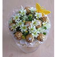 """Pralinen Strauß """" Ferrero Rocher"""" weiß, Geschenk zum Muttertag, Vatertag, Pralinen-blumen-strauß, Geschenk zum Geburtstag, Hochzeit, Blumenversand"""
