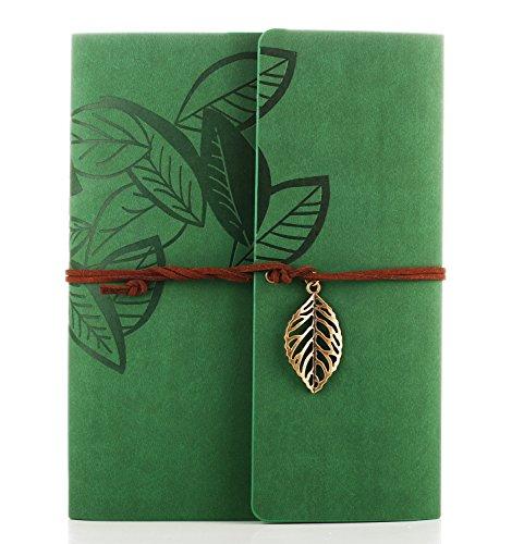 Album foto, zeeyuan memory scrapbook foglia morbida pelle album fotografico vintage famiglia libro speciale di natale di san valentino regali di compleanno unico regalo per le donne (verde)