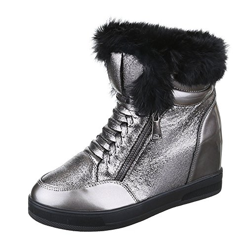 Ital-Design Keilstiefeletten Damen Schuhe Plateau Keilabsatz/ Wedge Leicht Gefütterte Reißverschluss Stiefeletten Silber, Gr 38, Kk01-