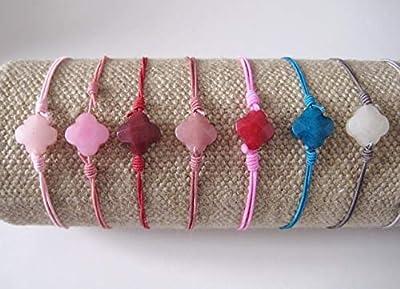 Bracelet cordon Trèfle pierre de gemmes - Clover bracelet