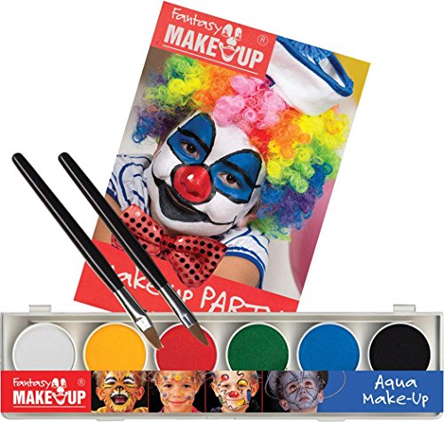 Halloween Party Kostüm Clown Gesicht Make-up aqua 6 Farben Schachtel mit Buch & Schwamm (Clown-gesicht Make-up Halloween)