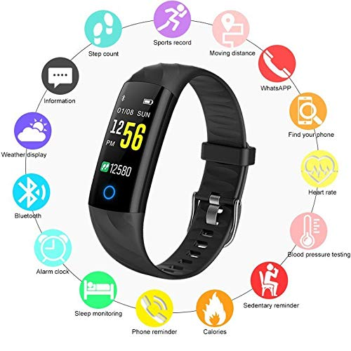 Smart Band Fitness Tracker Y5 2019, Blood Oxygen Measurement,Blood Pressure,Heart Rate,Water Proof.Step,Distance,Calorie Calculation,Sleep Monitoring,Stopwatch.Color Screen(Black)