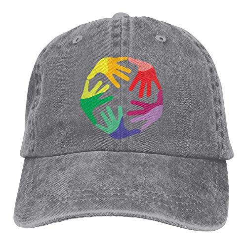Hoswee Unisex Kappe/Baseballkappe, Diversity and Inclusion Cowboy Caps Adjustable Snapback Baseball Hat Gray