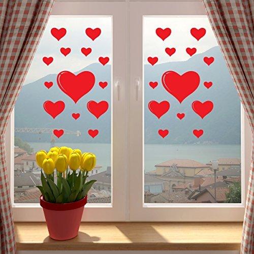 Adesivo a forma di cuore per San Valentino, rosso, per finestra o da parete. Usa e getta. Decorazione autoadesiva in vinile per casa o in negozio.