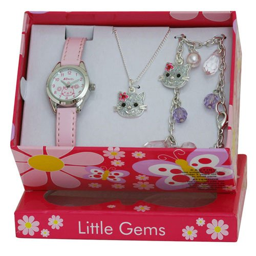 Ravel Children's Jewellery Set: Little Gems Pussycat Watch, Charm Bracelet, Pussycat Necklace in Presentation Box