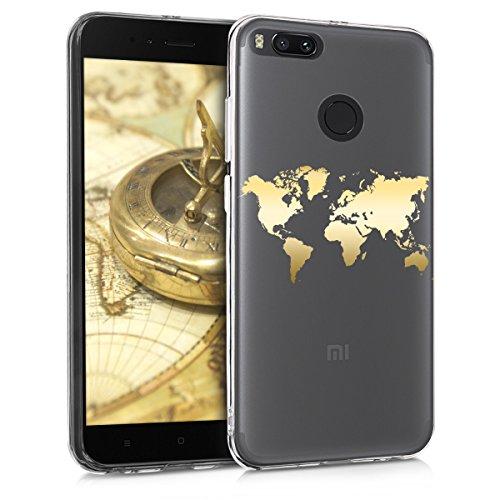 kwmobile Funda para Xiaomi Mi 5X / Mi A1 - Carcasa Protectora de [TPU] con diseño de Mapa del Mundo en [Dorado/Transparente]
