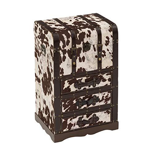 Baúl de Madera marrón con 3 cajones étnico para salón France - LOL