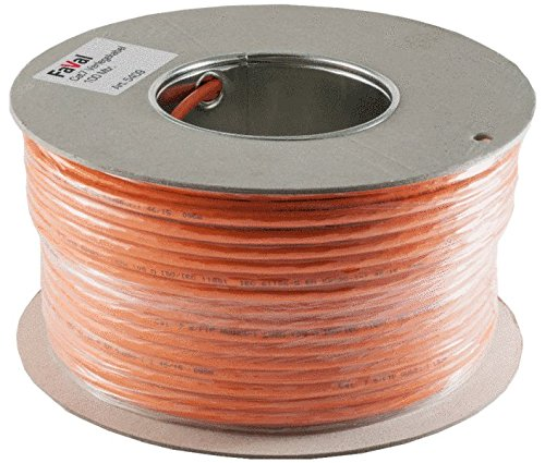 Faval K5409 CAT7 Verlegekabel 100m Spule orange CAT.7 Neztwerkkabel Installationskabel aluminiumbeschichtet verzinntes Kupfergeflecht
