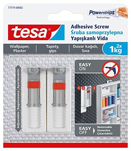 TESA 77775-00002-00 réglable amovible adhésif Vis pour tableau à suspendre sur papier peint, Blanc